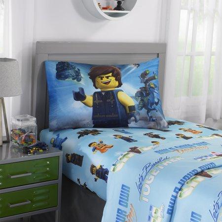 The LEGO Movie 2 Kids Bedding, Sheet Set, Let's Build Together, 1 Each - Lego Batman Sheets