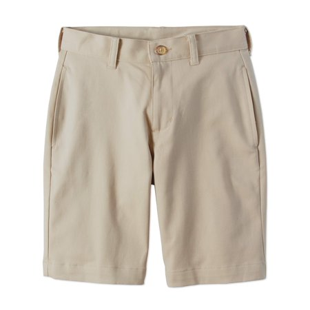 Boys Flat Front Shorts - Wonder Nation School Uniform Super Soft Flat Front Shorts (Husky Boys)