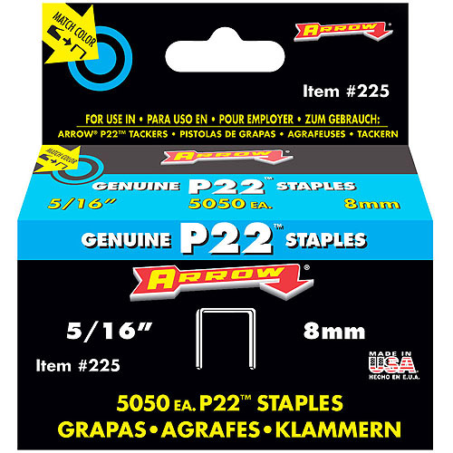 "Arrow Fastener 5/16"" P22 Staples"