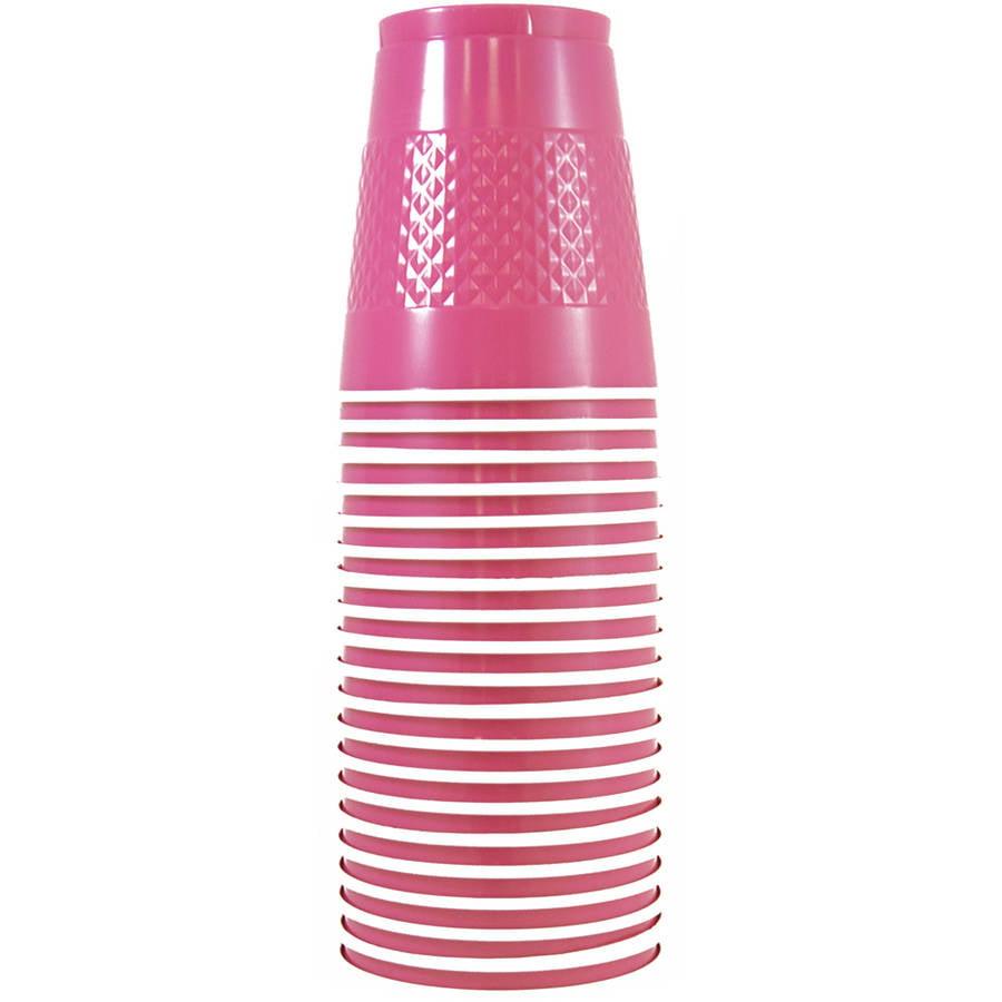 JAM Paper 12 oz Plastic Party Cups, Fuchsia Pink, 20pk