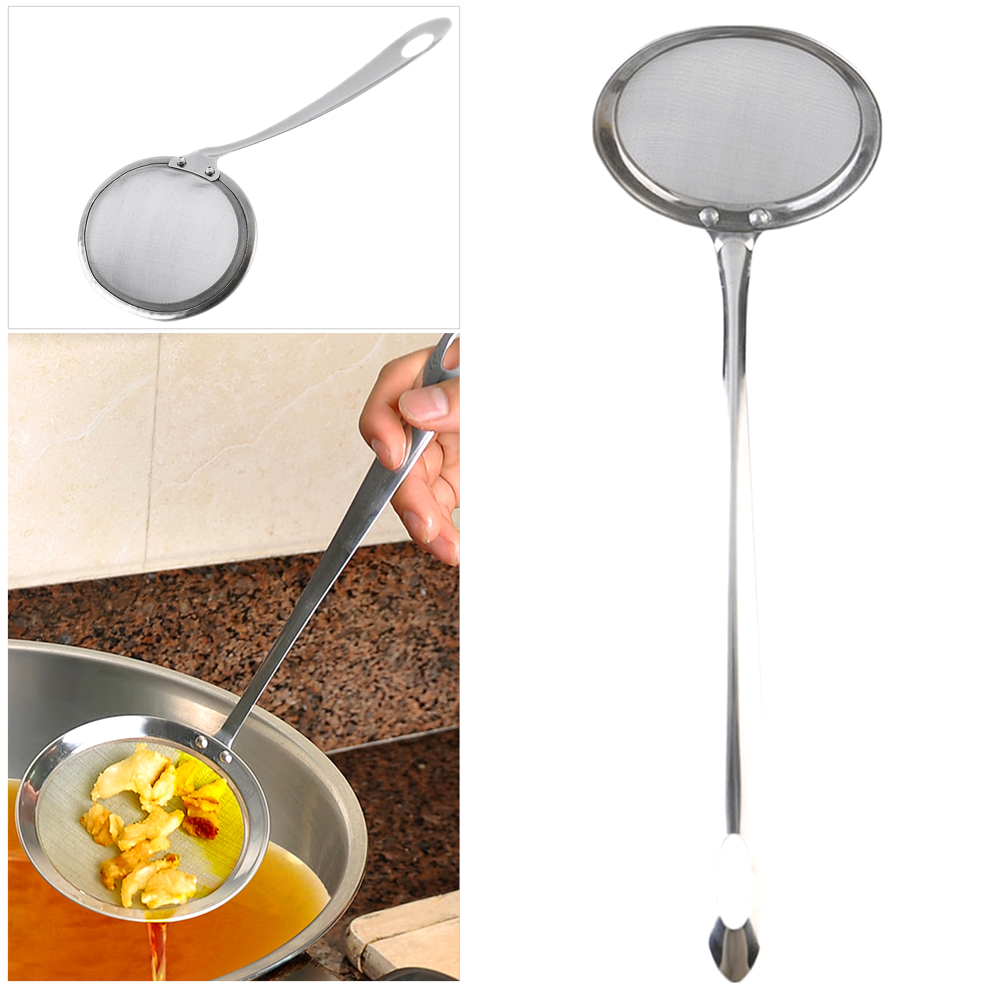 Stainless Steel Fine Mesh Skimmer Flour Colander Sieve Sifter Oil Strainer Filter Colander Spoon Kitchen Cooking Tools for Hot Pot