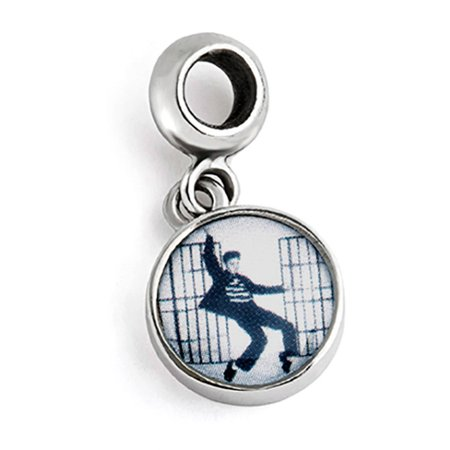 Sterling Silver Elvis Jail House Rock Round Dangle Bead Charm
