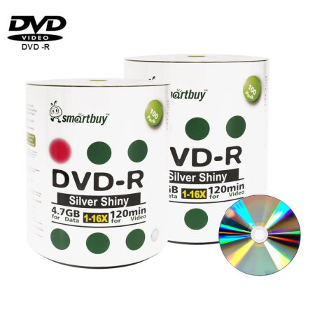 200 Pack Smartbuy 16X DVD-R 4.7GB 120Min Shiny Silver (Non-Printable) Data Blank Media Recordable Disc