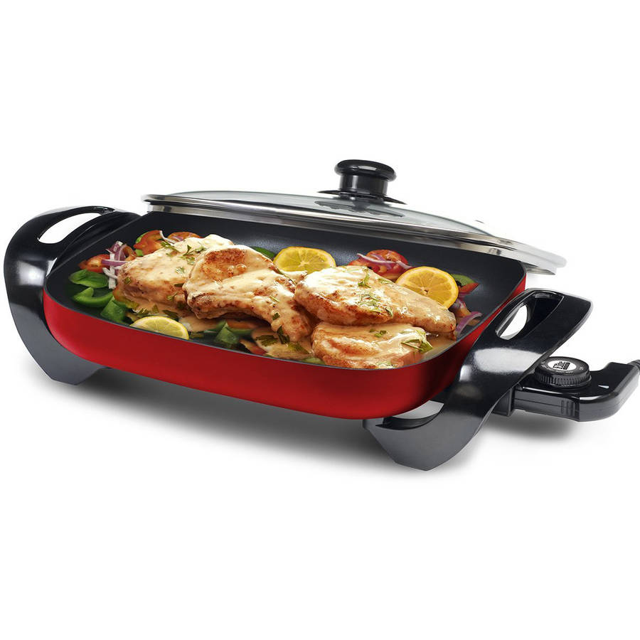 "Maxi Matic Elite Gourmet 15"" x 12"" Electric Skillet with Glass Lid, Red"