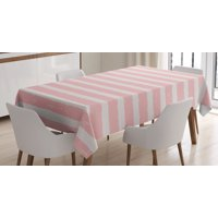 Kids Tablecloth, Paint Brushstrokes in Horizontal Direction Pastel Color Pattern for Girls Kids, Rectangular Table Cover for Dining Room Kitchen, 60 X 84 Inches, Blush Baby Pink, by Ambesonne