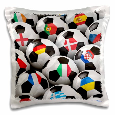 3dRose England Germany Portugal Spain, DM, Czech Republic Italy France Greece Ukraine flags on Soccer balls - Pillow Case, 16 by 16-inch