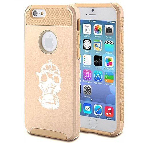 Apple iPhone 5 5s Shockproof Impact Hard Case Cover Gas Mask Zombie (Gold ) by