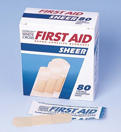 FirstAid Adhesive Bandages, Assorted Sheer Strips- Box of 80