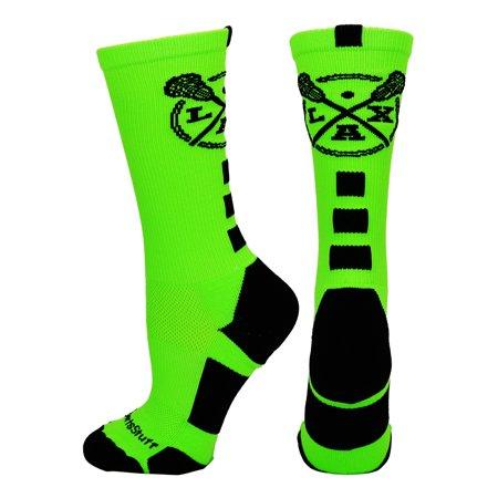 Neon Green Socks (LAX Lacrosse Socks with Lacrosse Sticks Athletic Crew Socks (Neon Green/Black, Medium) - Neon)