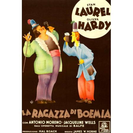 The Bohemian Girl Top L-R Oliver Hardy Stan Laurel On Italian Poster Art 1936 Movie Poster - Halloween Bohemian R