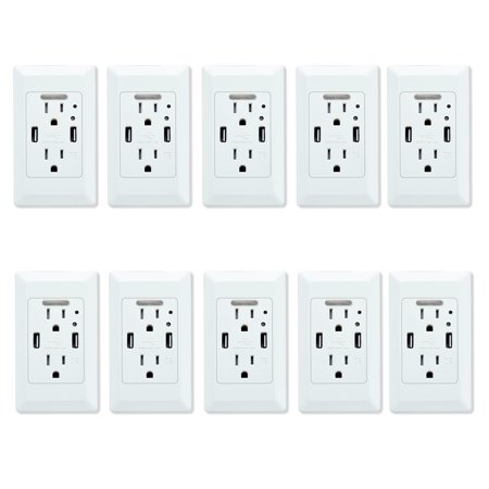 GREENCYCLE 10PK White Dual USB 4.2A Port Electric Wall Charger Power Outlet Panel Plate Dock Station Socket Adapter with LED Nightlight