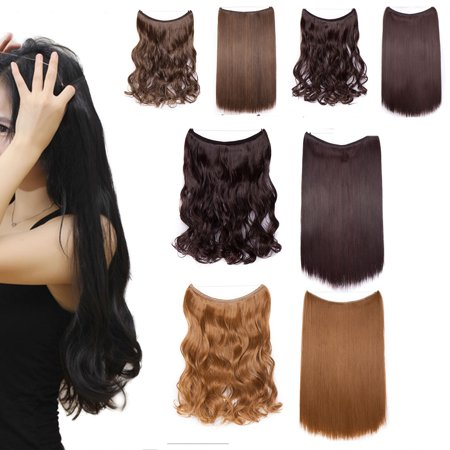 S-noilite 20 Inches Invisible Wire No Clips in Hair Extensions Secret Fish Line Hairpieces Silky Straight real natural Synthetic medium brown & dark auburn, 20