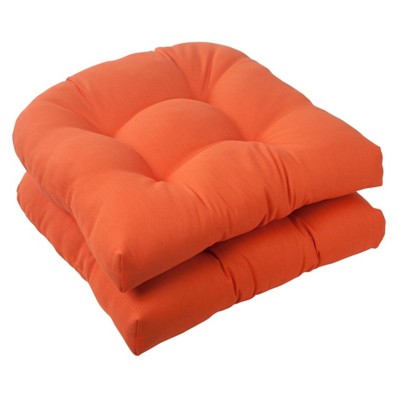 "Set of 2 Orange Sunrise Outdoor Patio Tufted Wicker Seat Cushions 19"""