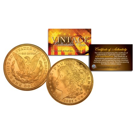 24k Pure Gold (1921 Pure AU/BU MORGAN SILVER DOLLAR full 24K GOLD Plated US Coin COA &)