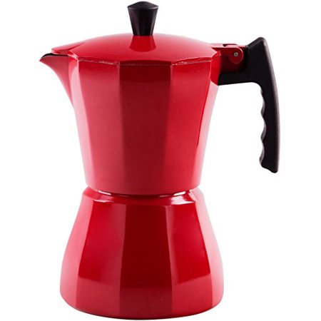Palais Dinnerware Stovetop Espresso Maker - Aluminum Coffee Maker Moka Pot (Red, 3 Demitasse Cups)