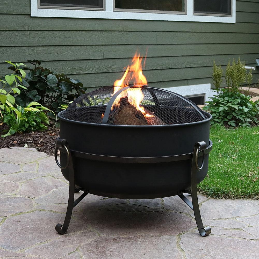 Sunnydaze 34 Inch Large Outdoor Firepit with Spark Screen, Steel Cauldron by Sunnydaze Decor