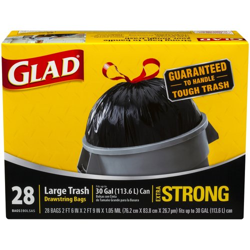 Glad Extra Strong Large Drawstring Trash Bags, 30 gallon, 28 count