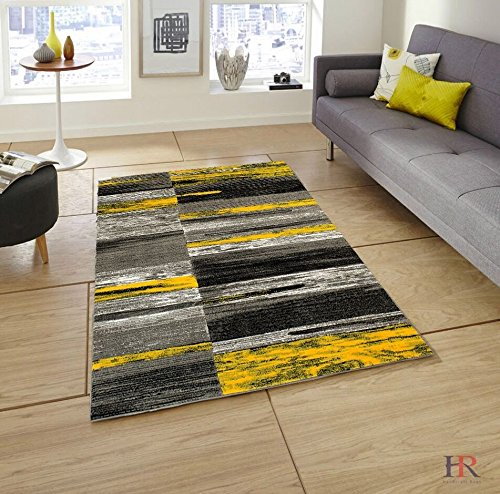 HR ABSTRACT MODERN CONTEMPORARY MIXED COLORS PATTERNS DESIGN AREA RUG  CARPET.YELLOW AND GREY