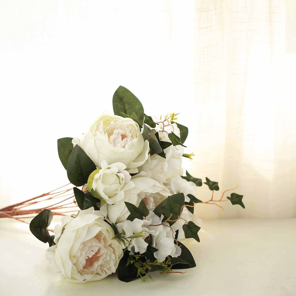 Efavormart 2 Bushes Peony, Rose Bud And Hydrangea Artificial Silk Flower Wedding Decoration