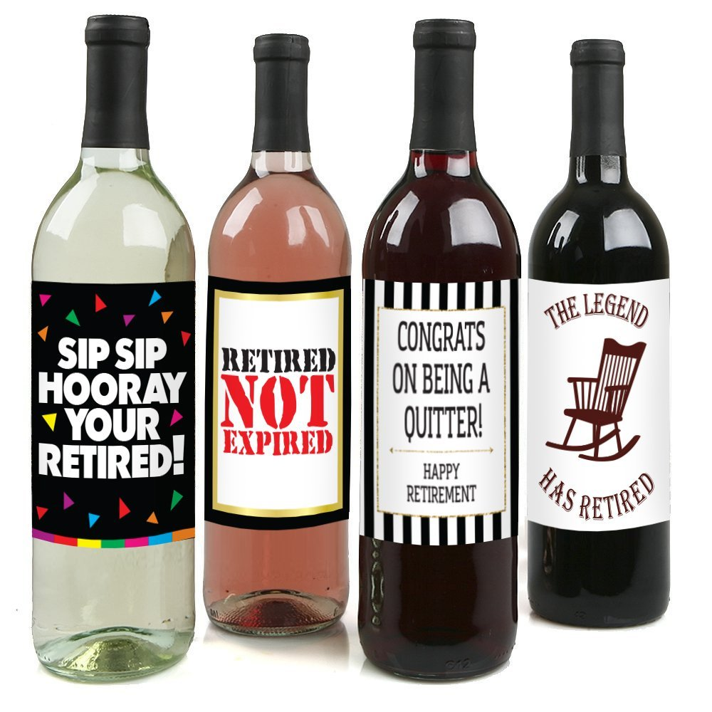 Retirement Party Wine Label Pack - Retirement Party Supplies, Gifts, and Decorations