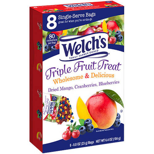 Welch's Triple Fruit Treat Dried Fruit, 0.8 oz, 8 count