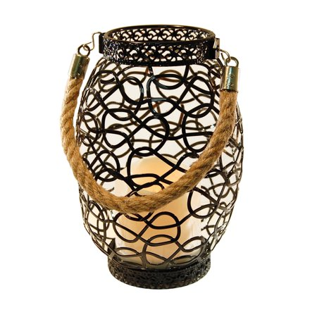 Metal Wire Lantern with LED Candle, Black Swirl (Black Lantern Ring)