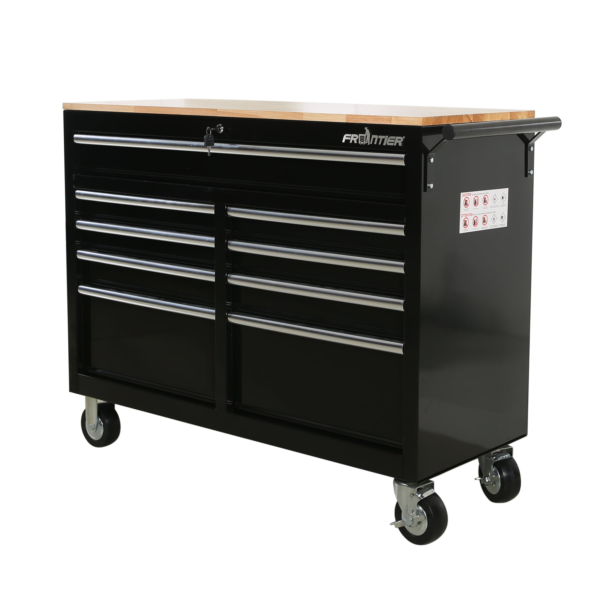 9 Drawer Mobile Workbench Tool Chest Cabinet With Wooden Work Surface In Black