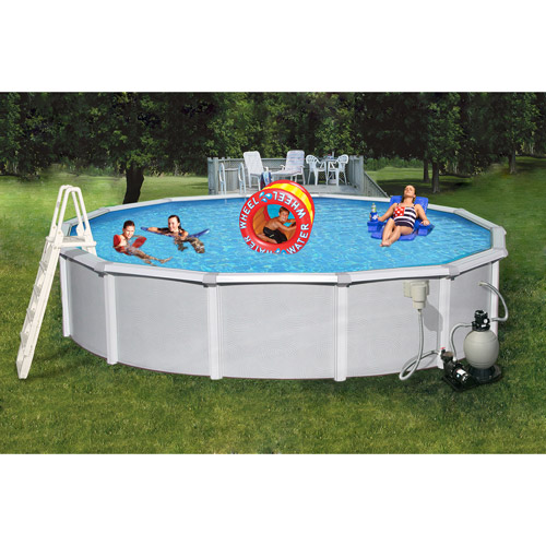 "Swim Time Round 24' x 52"" Deep Samoan 8"" Top Rail Metal-Walled Swimming Pool"