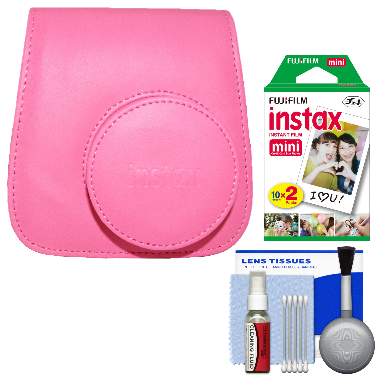 Fujifilm Groovy Case for Instax Mini 9 Instant Camera (Flamingo Pink) with 20 Twin Prints + Cleaning Kit