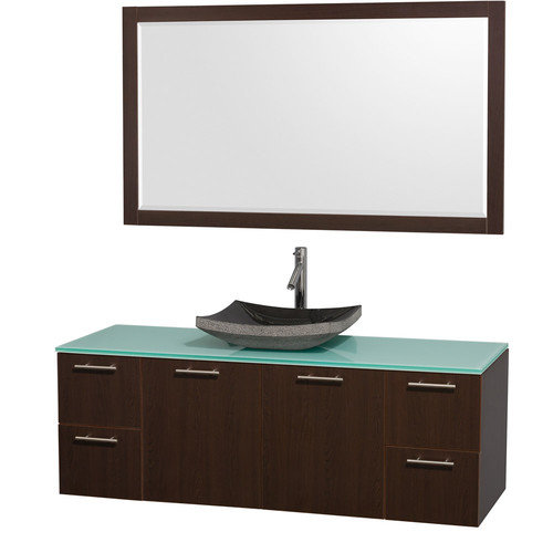 Wyndham Collection Amare 60 inch Single Bathroom Vanity in Gray Oak with White Man-Made Stone Top with Bone Porcelain Sink, and 58 inch Mirror