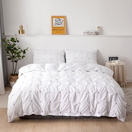 Noble And Elegant Palace Luxury Style Faddish Sanding Solid Color 15 Squares Two-Piece Suit Quilt Cover Pillowcase Beddings -Twin Model White