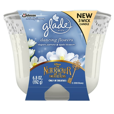 Three Wick Glass - Glade 3 Wick Air Freshener, Dancing Flowers, 6.8 oz