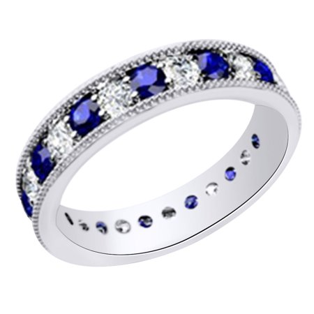 (1.3 cttw) Simulated Blue Sapphire & White Natural Diamond Eternity Wedding Band Ring In 14k White Gold With Ring Size -4