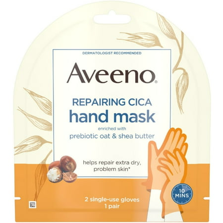 2 Pack - AVEENO Repairing CICA Hand Mask with Prebiotic Oat and Shea Butter for Extra Dry Skin, Paraben-Free and -