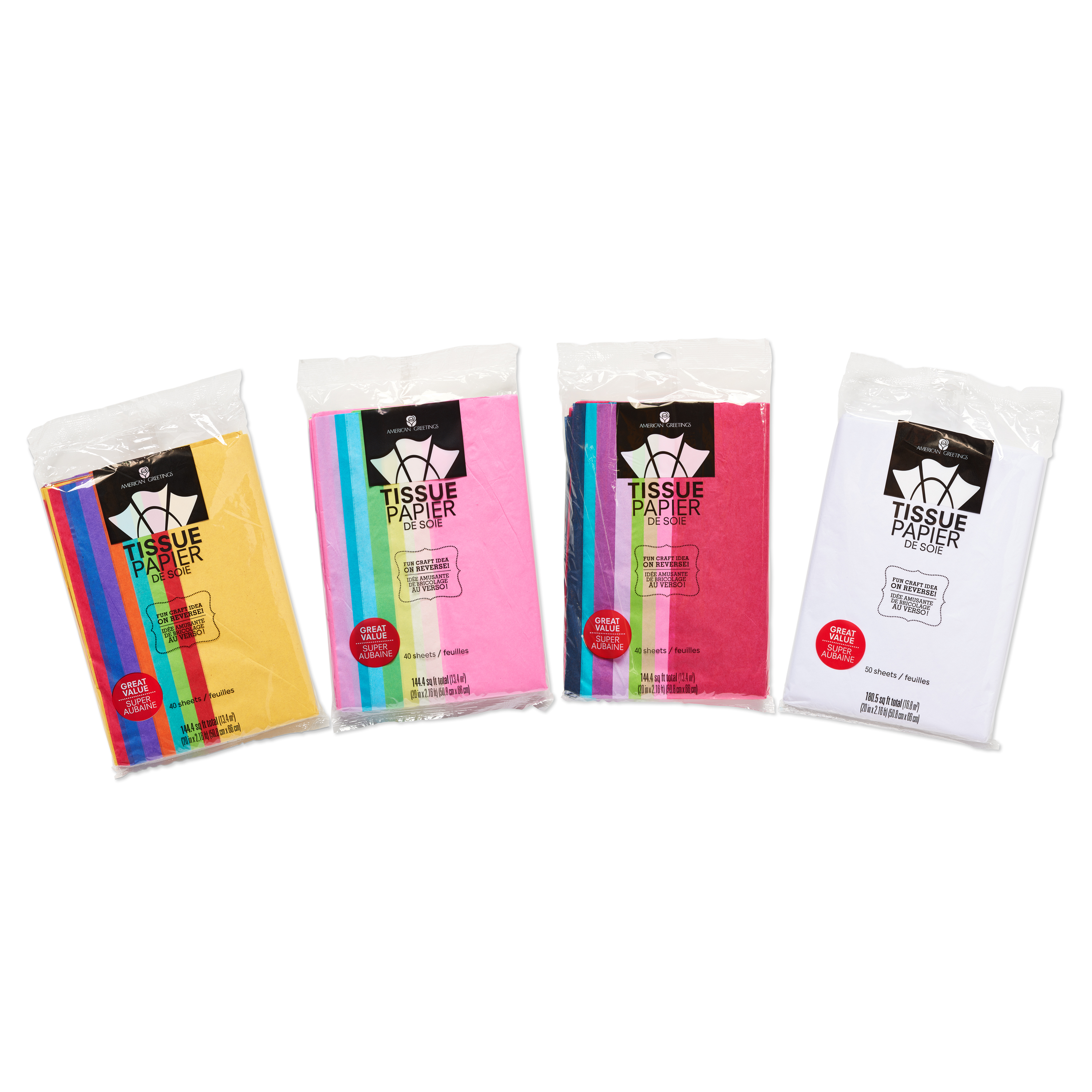 American Greetings Multicolored Tissue Paper Value Bundle, 170 Sheets