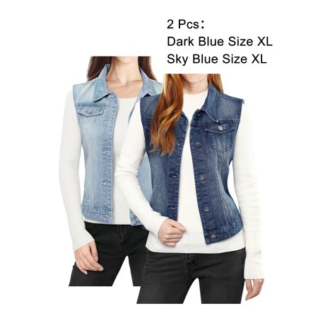 Women Buttoned Washed w Flap Pockets Denim Vest Coat ()