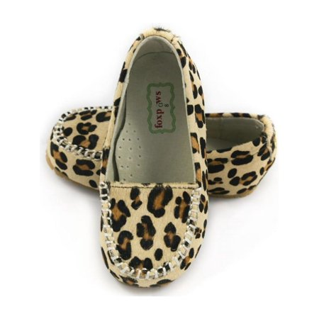 dd02ca8dd0b3 Foxpaws Shoes - Foxpaws Leopard Ava Leather Little Girl Loafers Shoe 11-12  - Walmart.com