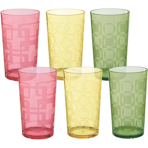 Creative Bath 24-Ounce Etched Tumblers, Set of 6