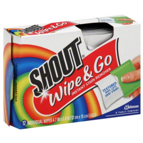 Shout Wipe & Go Instant Stain Remover Wipes 12 ea (Pack of 4)