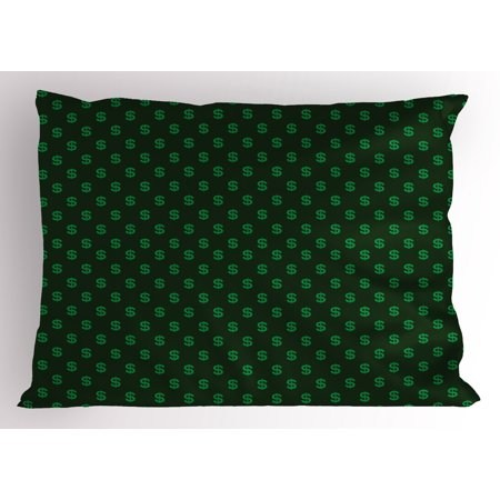 Money Pillow Sham Pattern of Dollar Symbols on Dark Green Background Monetary Sign of USA, Decorative Standard Size Printed Pillowcase, 26 X 20 Inches, Hunter Green Lime Green, by Ambesonne ()