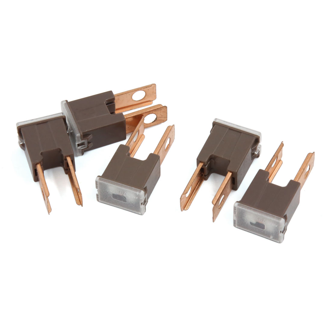 Car 70A 32V Male PAL 2 Straight Blade Slow Blow Enclosed Fuse Brown 5 Pcs
