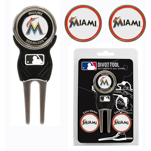 Team Golf MLB Miami Marlins Divot Tool Pack With 3 Golf Ball Markers