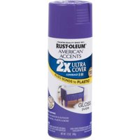 (3 Pack) Rust-Oleum American Accents Ultra Cover 2X Gloss Purple Spray Paint and Primer in 1, 12 oz