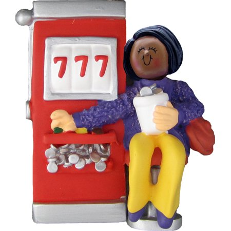 Slot Machine Gambler Female African-American Personalized  Christmas Ornament DO-IT-YOURSELF