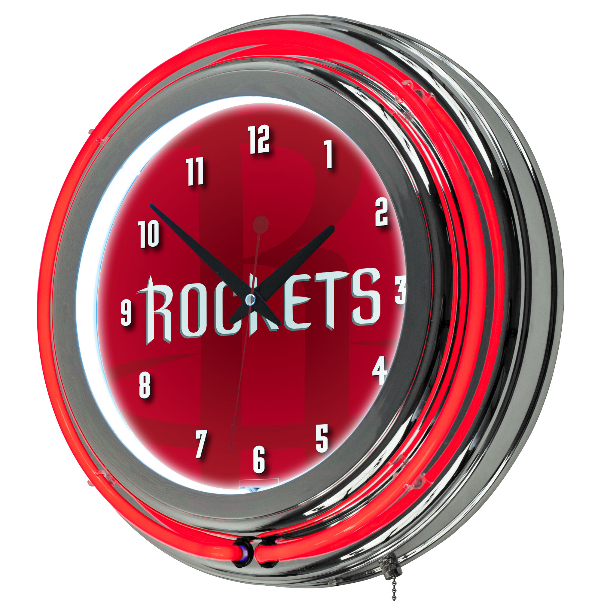 NBA Chrome Double Rung Neon Clock - Fade - Houston Rockets