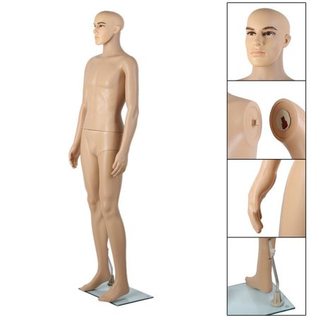 Zimtown Male Mannequin Plastic Realistic Display Full Body Head Turns Dress Form Realistic Shop Display w/ Base
