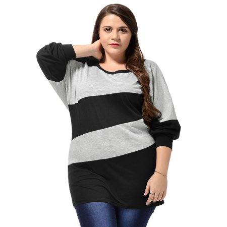 Women Plus Top Plus Size Diagonal Stripes Batwing Tunic Top Shirt Blouse Black 1X