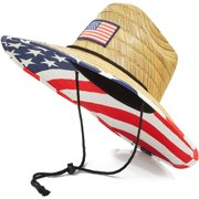 Men's American Flag Straw Sun Hat for Lifeguards, Beach Sun Protection, Wide Brim (Adult, One Size)