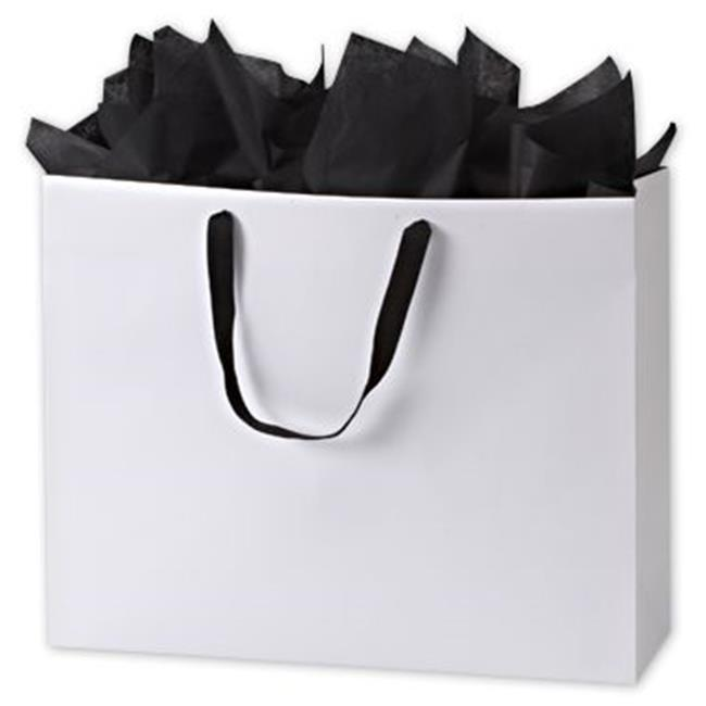 Bags & Bows by Deluxe 244M-200616-9GR White Grosgrain Handle Matte Laminated Euro Shoppers - Case of 50