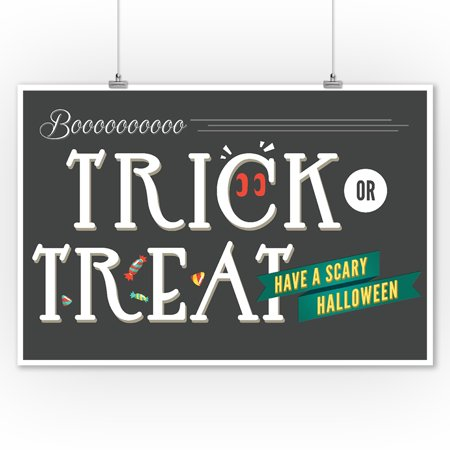 Trick or Treat - Happy Halloween - Lantern Press Artwork (9x12 Art Print, Wall Decor Travel Poster) - Happy Halloween Artwork